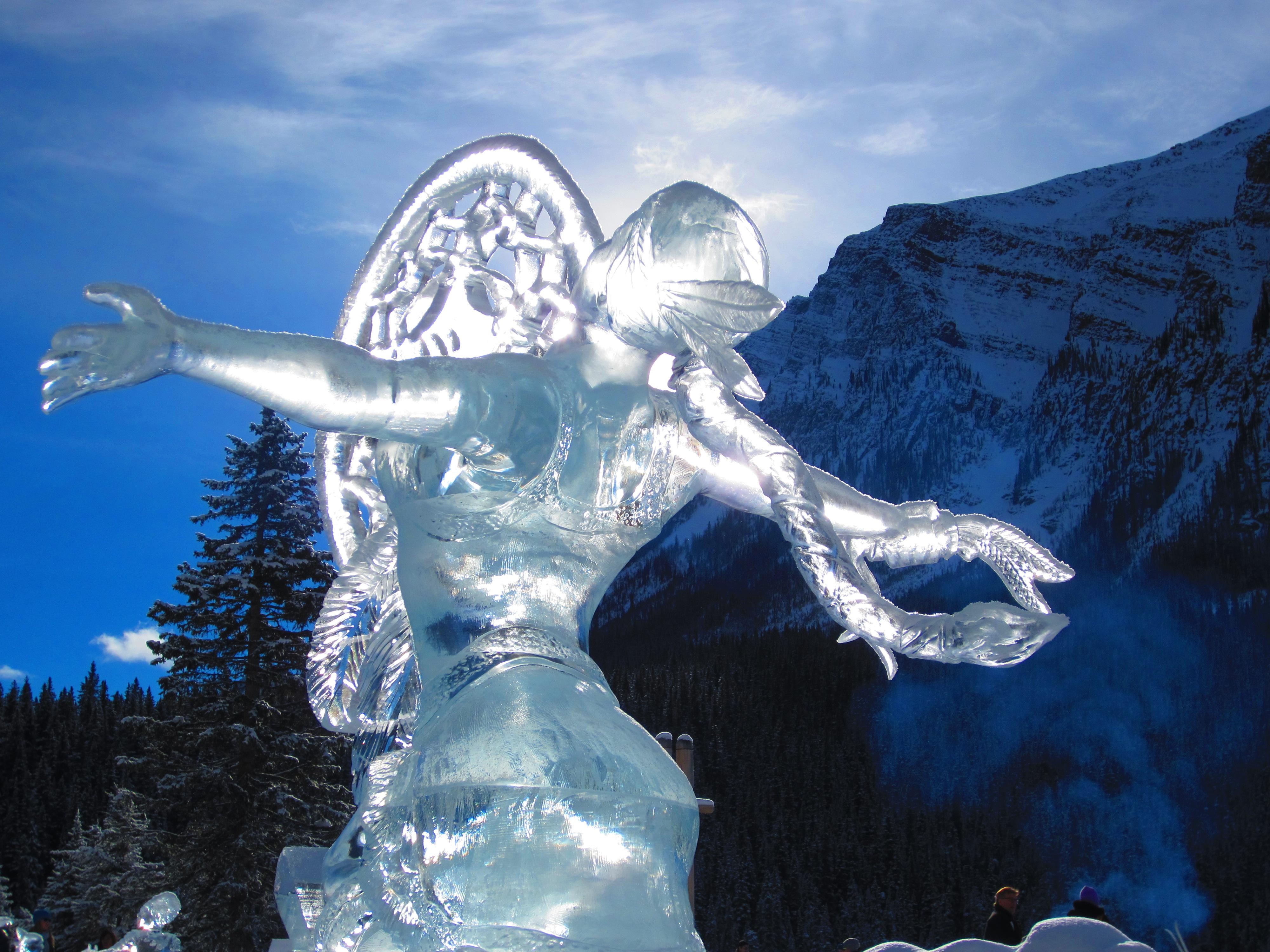Ice sculptures in banff national park magic festival